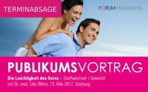 PUBLIKUMSVORTRAG Stoffwechsel und Gewicht mit Dr. med. Udo Böhm