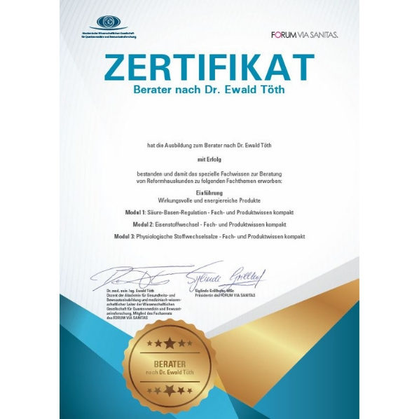 Zertifikat - Berater nach Dr. Ewald Töth