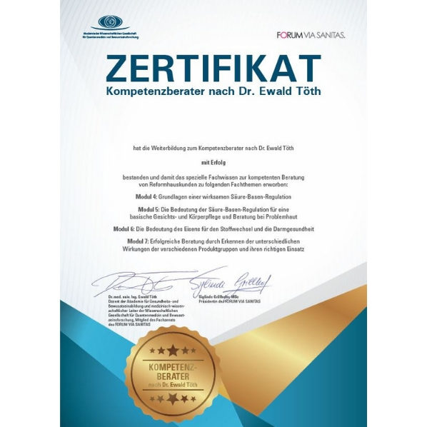 Zertifikat - Kompetenzberater nach Dr. Ewald Töth